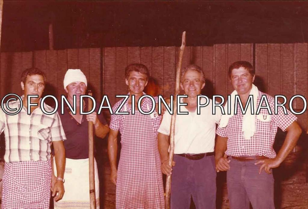 Da sinistra Mario Quattrini, Arialdo Tesei, Silvano Coatti, Primo Coatti e Gustavo Zotti