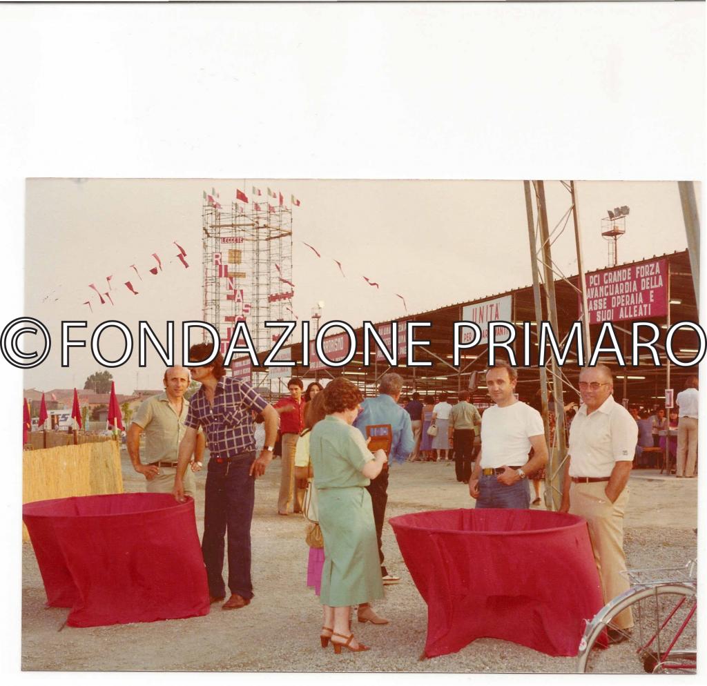 Festa--de-L'Unità-1976.-Entrata.-Da-sinistra-Albano-Zalambani,-Zanotti-Luigi-(Gheo),-Viliam-Brusa,-Leoni-Werter-(Pecia)